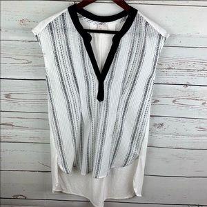 Anthro   Postmark White Black Sleeveless Tunic